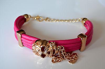 Bracelet Damenschmuck Designer Armband in Leder Optik Totenkopf Pink Neu A.A06 ()