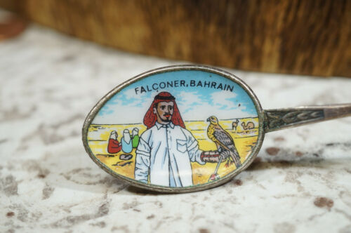 Vintage Silverplate Falconer Bahrain Enamel Painted Souvenir Spoon