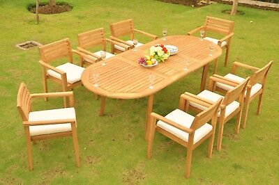 CLEARANCE Montana A-Grade Teak 9pc Dining 94 Oval Table 8 Stacking Arm Chair Set
