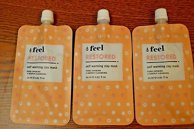 - 3X Feel Beauty Restored Self Warming Clay Mask NEW From Ipsy 20ml lot of 3!
