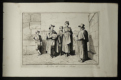 Bartolomeo.PINELLI:CIECO CHE CANTA e SUONA.ROMA.Tav.27.1816.Acquaforte,Cm 42x27