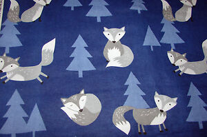 Flannelette Fitted Grey Foxes On Blue Cot Sheet Handmade