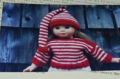 "18"" Doll Knitting Pattern Striped Boatneck Sweater & stocking cap"