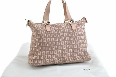 Authentic FENDI Zucchino Tote Bag Canvas Leather Pink 84496