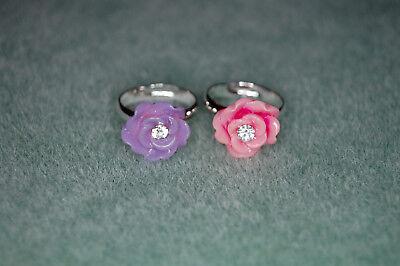 Bejeweled Beauty Rhinestone Flower Sterling Silver Plated Little Girl's Adj Ring](Little Girls Rings)