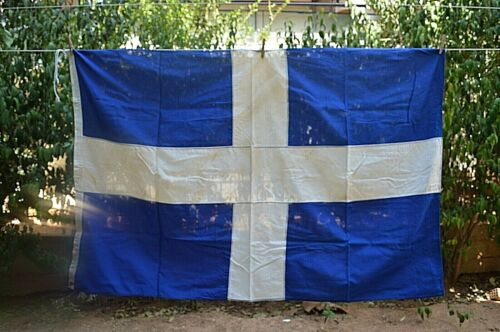 AUTHENTIC VINTAGE GREEK MATERIAL MADE COTTON FLAG MADE BY ELIAS COCONIS