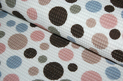 eiß rosa hellblau altgrün beige braun Punkte Kreise (Rosa Waffel)