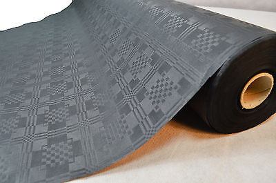 100cm x 50 Meter Schwarz Papiertischdecke Tischdecke Rolle Damastprägung ()