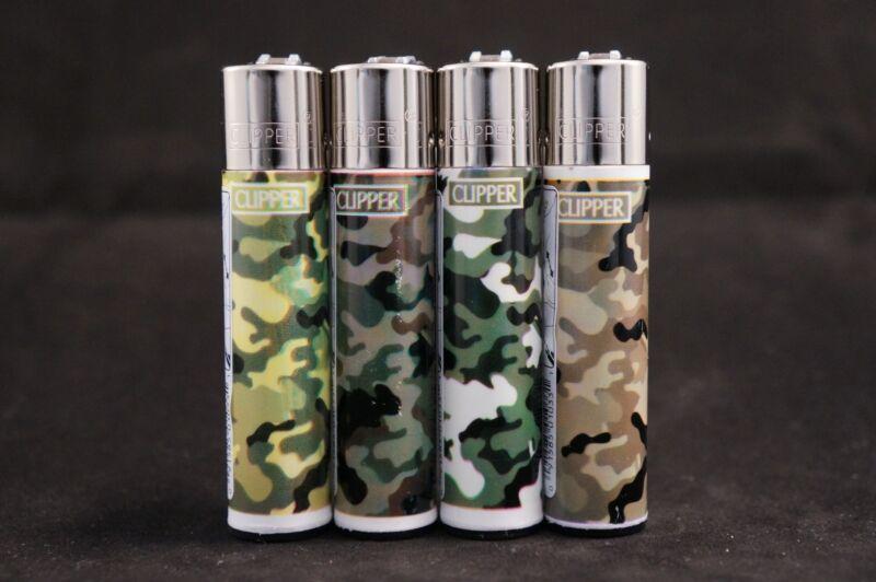 4 pcs New Refillable Clipper Full Size Lighters Camo Design