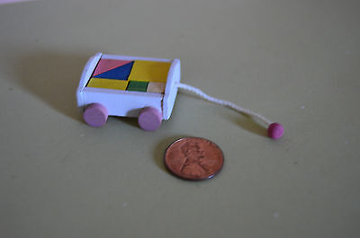 Miniature White Wagon with Blocks in 1:12 doll scale