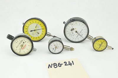 Lot Of 5pc Dial Indicator Mitutoyo Starrett Federal Dorsey Nice Working Lot
