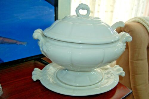 Vintage Red Cliff White Ironstone Footed Tureen w/ Ladle & Under Plate LARGE