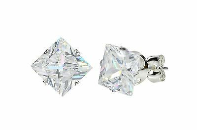(Sterling Silver Square Princess Cut Clear CZ Stud Earrings Prong Set)