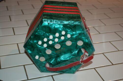 Vtg Regoletta Concertina 20 Button Squeeze Box RARE Green Pearl Italy!!