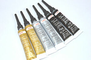 Glass And Ceramic Outliner paint GOLD SILVER BLACK Out Liner Paints 6x12ml tubes