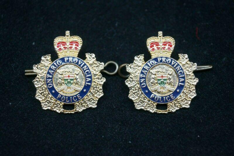 Vintage Canadian OPP Ontario Police Collar Badges