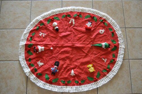 Vintage Christmas Tree Skirt MCM Kitschy Handmade OOAK White Tassel Santa