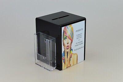 Collection Suggestion Box with Side Pocket / Leaflet Holder - PDS9470 Black