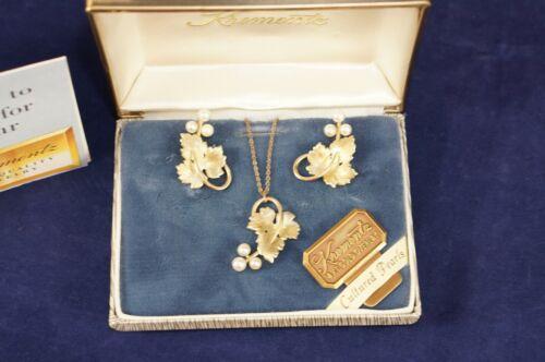 Vtg KREMENTZ 14K Gold Overlay Grape Leaf Necklace Earrings Set w/ ORIGINAL Box