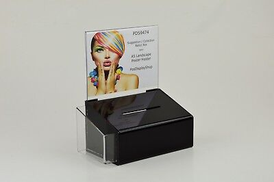 Comment Suggestion Box with Poster Holder + Leaflet Holder - PDS9474 BlackLH A5L