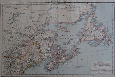 Victorian Map 1896 of CANADA - EASTERN The Times Atlas 1st Gen