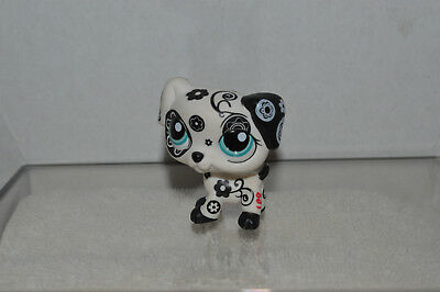 Littlest Pet Shop~#1613~Puppy Dog~Dalmatian~Flowers~Rescue Tails~Aqua Dot Eyes