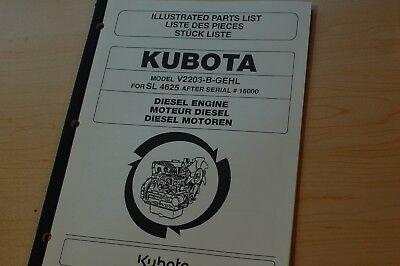 Kubota V2203-b Diesel Engine Parts Manual Book Catalog Gehl Skid Steer Loader