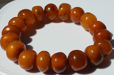 ANTIQUE BALTIC SEA AMBER BRACELET 24 GRAMS  BEESWAX COLOR.古董波罗的海琥珀手链24克蜂蜡颜色