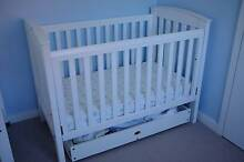 """Boori White """"Country Classic"""" Cot/Bed + Mattress + Boori Drawer Forestville Warringah Area Preview"""