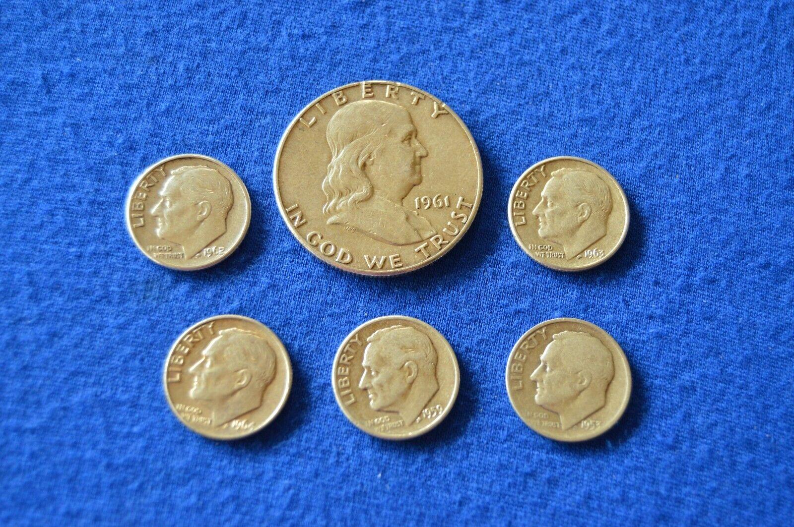 1961 D Franklin Half Dollar 1953 D, 59 D, 62 D, 63 D 64 Roosevelt Dimes 769 - $20.00