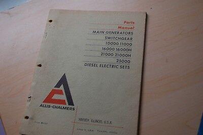 Allis Chalmers Main Generator Diesel Electric Set 10000 11000 16000 Parts Manual