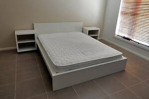 Ikea Malm Queen Bed Frame, Slats, Queen Mattress and 2 x Side Tab Greenvale Hume Area Preview