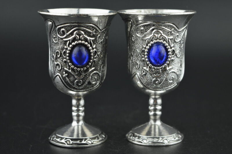 China Decorated Miao Silver Carving Flower Inlay Blue Bead Noble Pair Wine Cup b