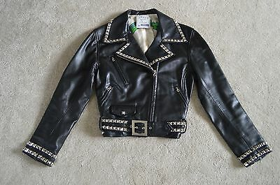Moschino Black Leather Peace Silver Studded Biker Jacket Coat Womens IT46 UK 12