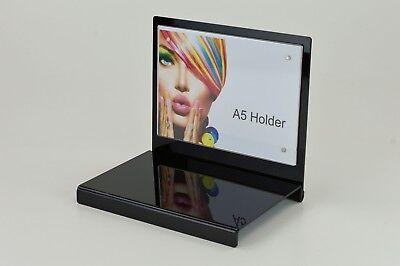 Modern Black Plinth Riser Display Stand with A5 Landscape Poster Holder