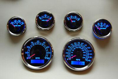 6 Gauge set w/o senders,Speedo,Tacho,Oil,Temp,Fuel,Volt, BWB
