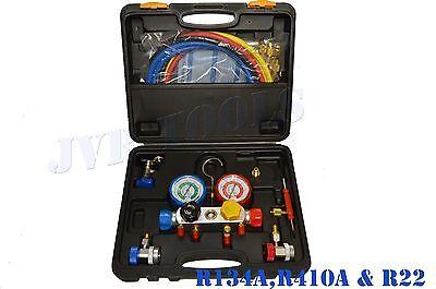 4 Way Manifold Vacuum Gauge Set R134a R410a R22 Ac Ac Hvac Refrigeration Kit