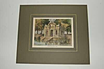 Antique hand-tinted print London's'Buckingham Gate in 1830' mounted. Pub.d C1880