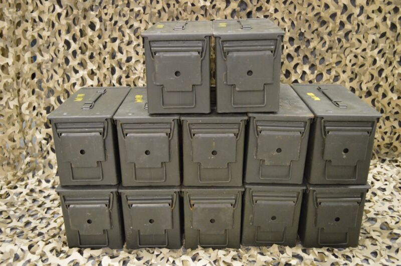 (12 PACK) 50 Cal M2A1 AMMO CAN COMPLETELY REFURBISHED GREAT CONDITION