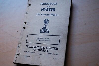 D4 Caterpillar Thirty Tractor Hyster Bw Towing Winch Owner Operator Parts Manual
