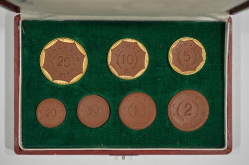 1921 Sachsen / Saxony 7 Piece Porcelain Notgeld Set Germany