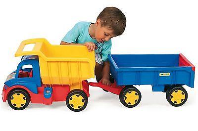 Gigant Truck mit Anhänger/Handwagen Kipper Lastwagen Hänger Wader XXL LKW Dumper