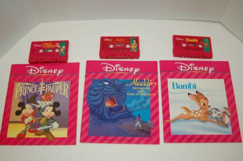 Disney Book & Cassette Tape Lot Prince Pauper Bambi Aladdin Cave of Wonders