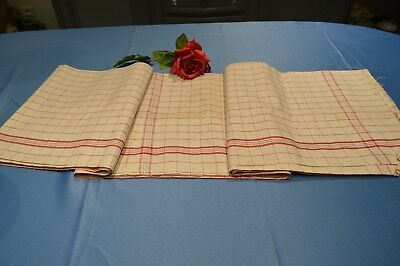 ANTIQUE FABRIC PIECE FOR DISHCLOTHS MÉTIS A BATTENS AND QUADRILLE EN ROUGE NEW