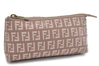 Authentic FENDI Zucchino Pouch Canvas Leather Pink 84485
