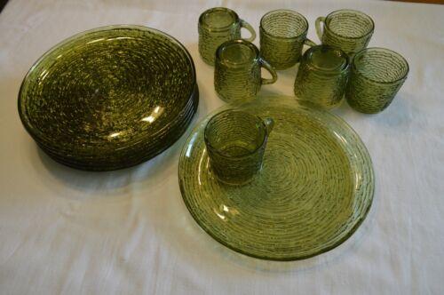 7 Anchor Hocking Avocado Green Soreno Glass Snack Set Plates and Cups