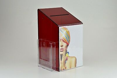 Large Collection / Suggestion Box with A5 Leaflet Holder PDS9464 Red Tint LH