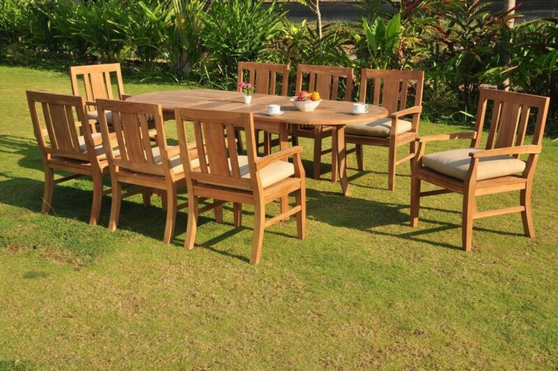 "*sale* Osborne A-grade Teak Wood 7pc Dining 94"" Rectangle Table 6 Arm Chair Set"