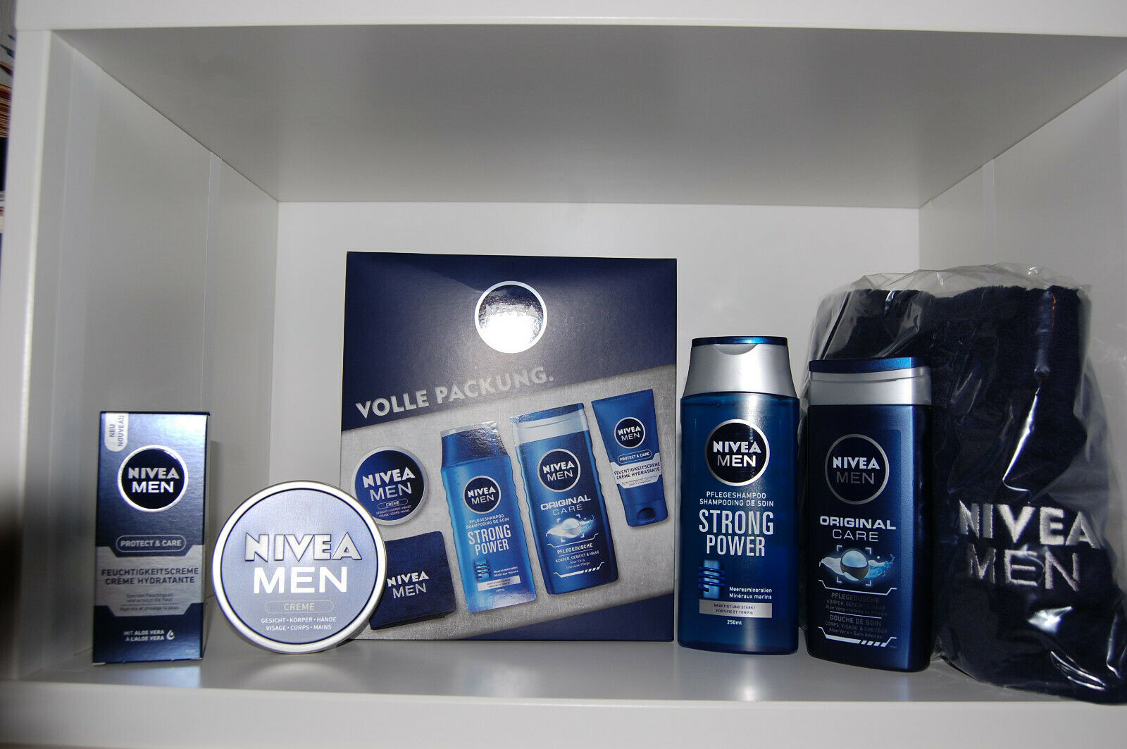 NIVEA MEN Geschenkset 5tlg Gesichtscreme + Duschgel + Shampoo + Creme +Sporttuch