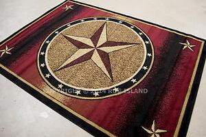 Texas Lone Star Rustic Cowboy Western Decor Rust Red Black